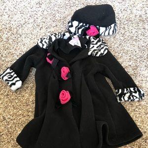 Sophie rose girl jacket/coat and hat black pink